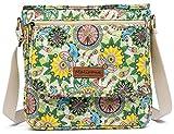 Malirona Canvas Messenger Bag Cross Body Purse Women Travel Purse Shoulder Satchel Floral Pattern (Flower)