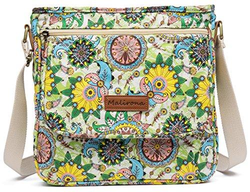 6410bf6901 Malirona Canvas Messenger Bag Cross Body Purse Women Travel Purse Shoulder  Satchel Floral Pattern (Flower