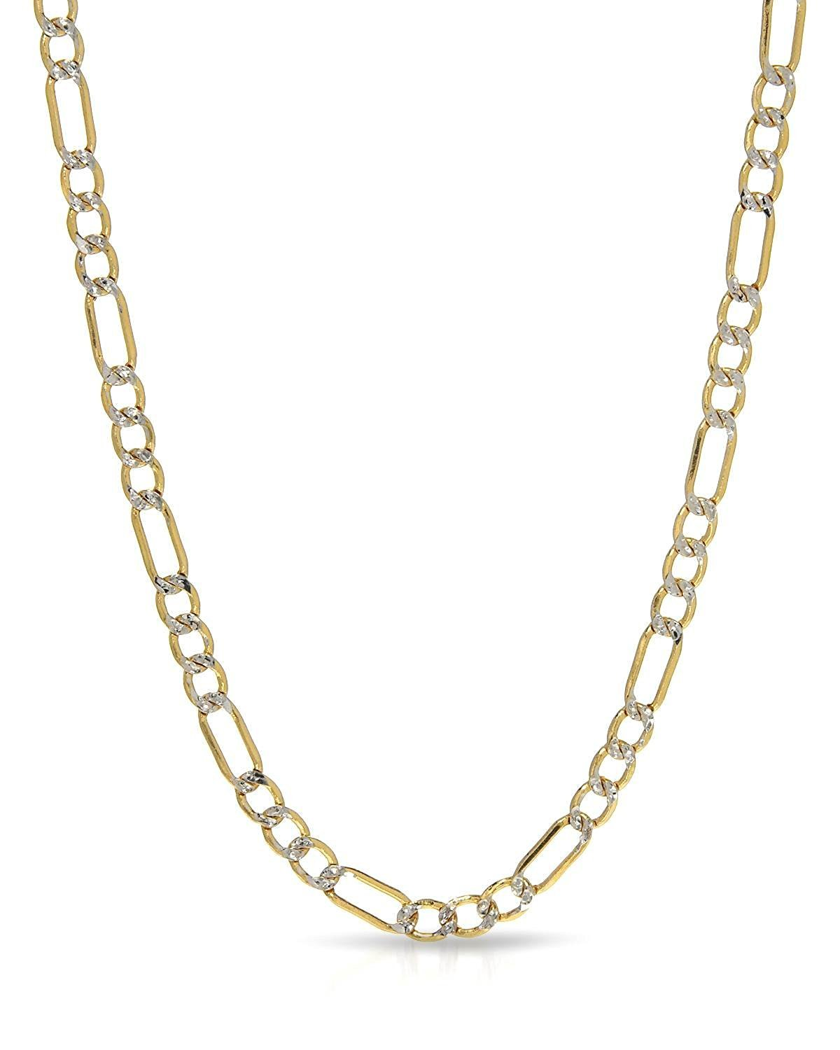 MCS Jewelry 10 Karat Two Tone SOLID Yellow & White Gold Figaro Chain Necklace 3.5 MM(Length: 18''-24'')