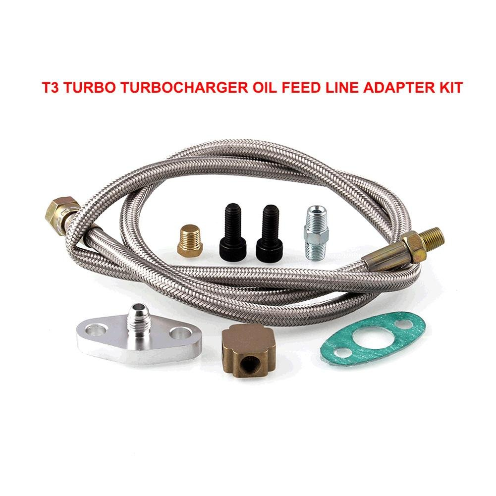 Fancylande Car Refit T3 Turbo Oil Inlet Feed Line Fittings Turbocharger Oil Line Adapter Accessories