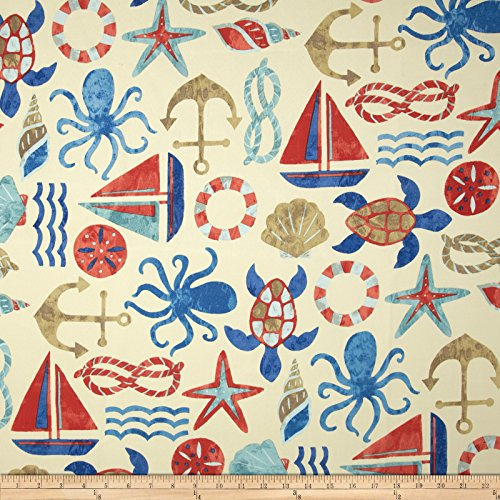 Swavelle/Mill Creek 0343683 Indoor/Outdoor SeaPoint Nautical Fabric by The Yard, (Nautical Fabric Outdoor)