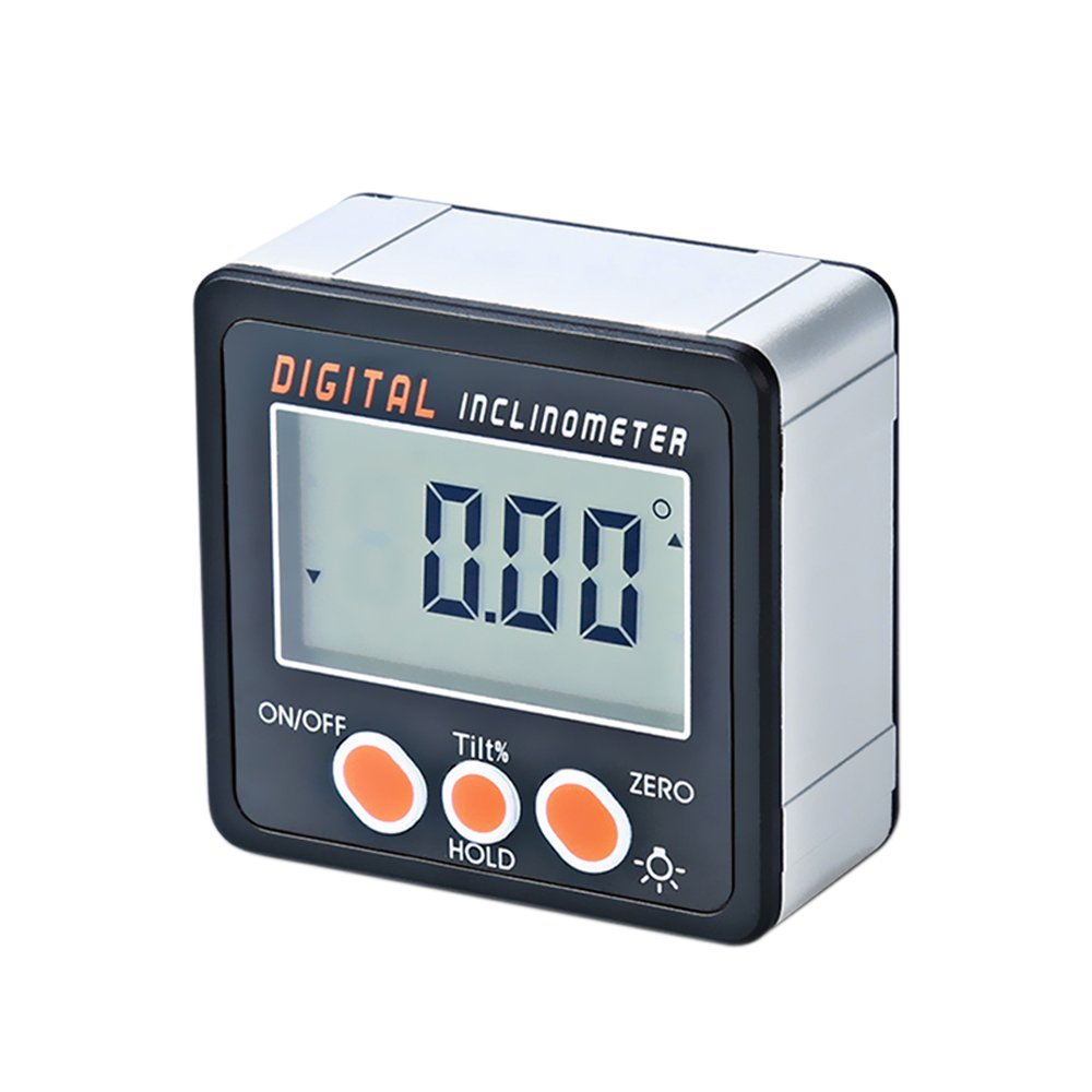 KKmoon Digital Inclinometer 0-360 ?Electronic Transporter Aluminio Aleaci髇 Shell Digital Bevel Box Medidor de 醤gulo Medidor de base de imanes