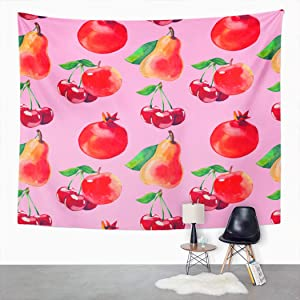 Weolucky Tapestry 60x80 Inch Watercolor Fruit Apples Cherries Pear Pomegranate Wide Wall Hanging Polyester Dorm Art Bedrooms Living Room Beach Blankets Curtains Design