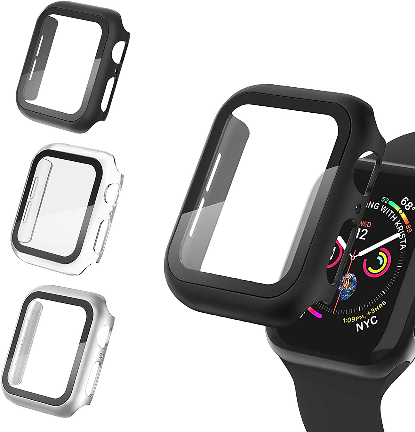 4 Pack Apple Watch Case 42mm Series 3/2/1 with Termpered Glass Screen Protector,Ultra-Thin Hard PC Shockproof Bumper Full Coverage Scratch-Resistant Protective Cover for Men Women iWatch