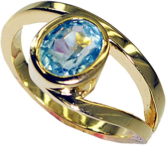 Jewelryonclick Gold Plated Amethyst CZ Rings Bezel Style Oval Gemstone Jewelry In Size 5,6,7,8,9,10,11,12