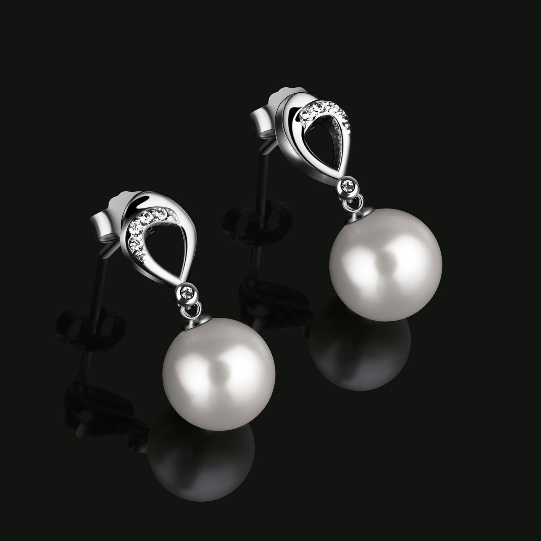 D.Perlla Femme Boucles d/¡/¯oreilles longues Clous d/¡/¯oreilles des perles en Argent 925 Perles de culture Zirconium cubique Cadeau parfait