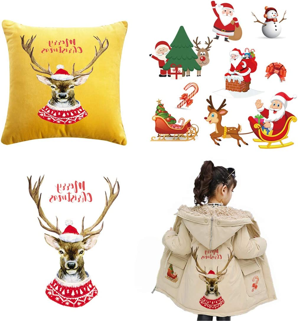 Christmas Elk Patches Washable Heat Transfer Iron-on Patch DIY Accessory Patch
