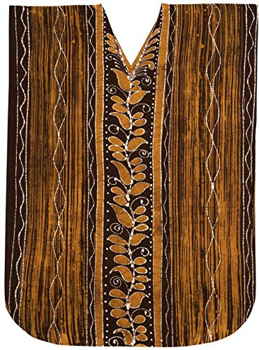 LA LEELA Cotton Batik Long Caftan Swim Dress Ladies Brown_207 OSFM 14-18W [L-2X]
