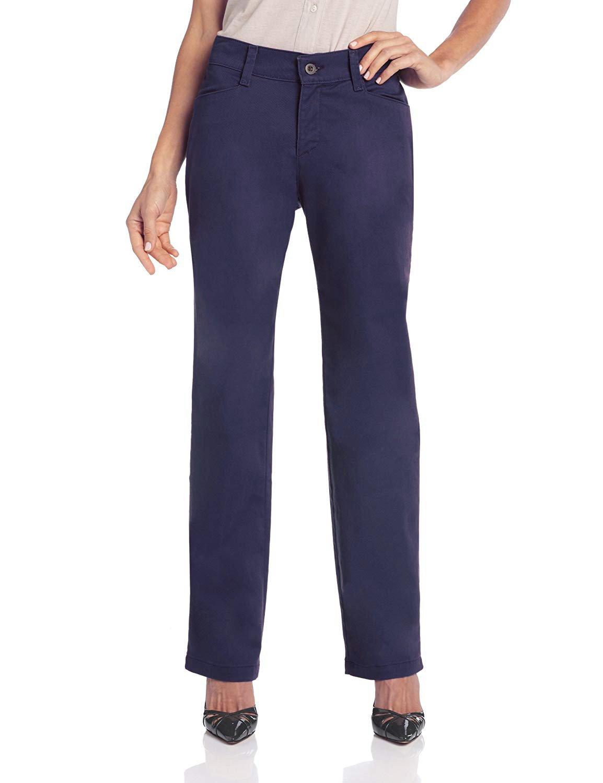 LEE Women's Petite Relaxed Fit Plain Front Straight Leg Pant (Imperial Blue, 14 Petite)
