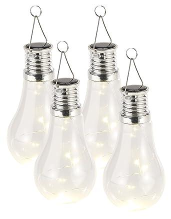 Lunartec Solar Birnen: 4er-Set Solar-LED-Lampen in Glühbirnen-Form ...