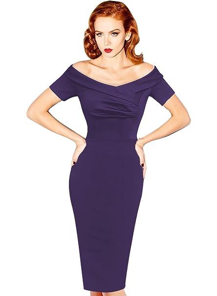 Review VfEmage Women's Elegant Vintage Ruched Off Shoulder Party Cocktail Wiggle Dress
