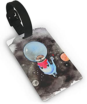 Set of 1 Travel Space Rocket Leather Luggage Tags with Black Strap