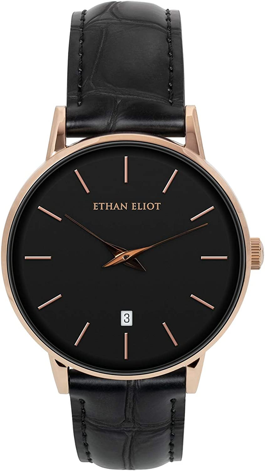Ethan Eliot Classic Men s Watch, Women s Watch, Melrose 38mm Rose Gold Watch for Men Watch for Women Unisex , Stainless Steel Rose Gold Case, Black Dial Croc-Embossed Black Leather EE38-RB22CBK