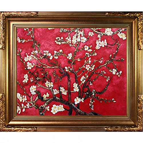 Painted Original Artwork - La Pastiche VG2621-FR-608G16X20 Branches Of An Almond Tree In Blossom, Ruby Red Framed Hand Painted Original Artwork with Florentine Gold Frame