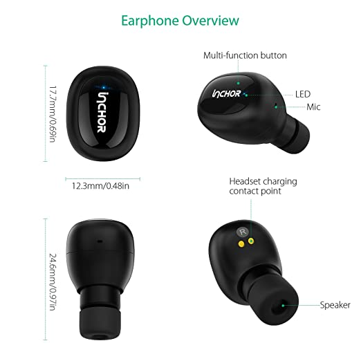 Amazon.com: Wireless Stereo Earbuds --- InChor Cordless True Headphones, In-Ear/ Sweat Proof/Bluetooth 4.1/ with Charging box/ Headset, with Mic (Black) : ...