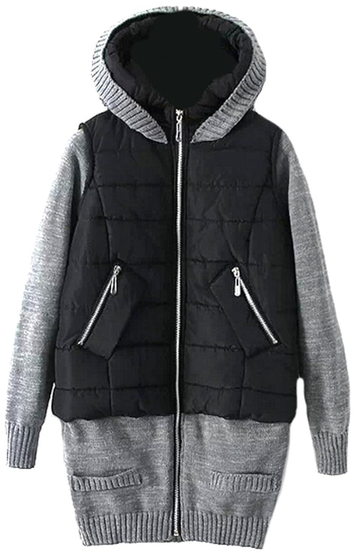 Generic Womens Trendy Spliced Zipper Long Porka Coats In Pocket
