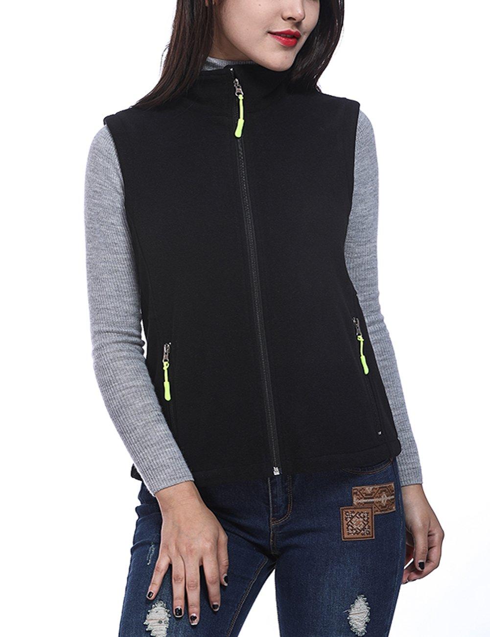 HEQU Women's Soft Sweater Front Zip Fleece Vest Black 2XL