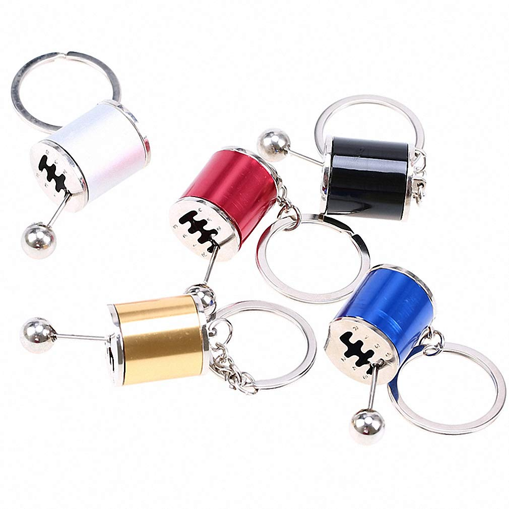 Kytrun Race Car Stalls Head Keychains Six-Speed Manual Shift Gear Key Chain Short Shifter Knob Auto Cars Parts Toy Metal Gift Black