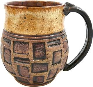 product image for American-made Earthy Terrain Carved Pottery Mug, 14-ounce (Sahara Sand)
