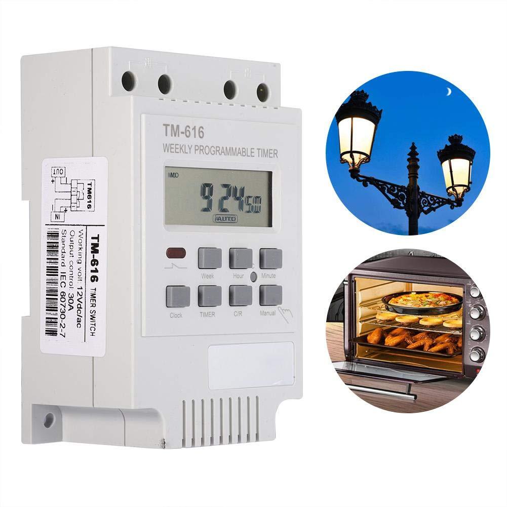 12V Interruptor temporizador digital 7 d/ías Programable Control inteligente Interruptor Temporizador Ahorro de energ/ía Interruptor el/éctrico para l/ámparas