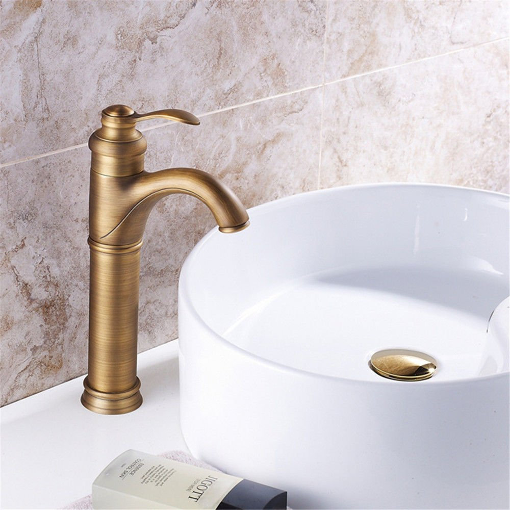 ANNTYE Waschtischarmatur Bad Mischbatterie Badarmatur Waschbecken Messing antik Metall Badezimmer Waschtischmischer