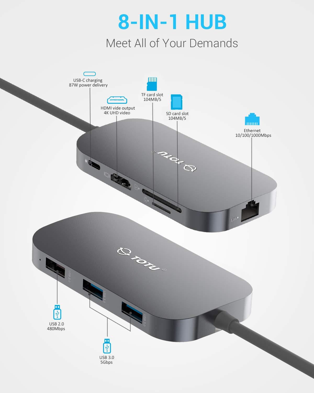 USB C Hub TOTU 8In1 Type C Hub with Ethernet Port 4K USB C to HDMI 2 USB 30 Ports 1 USB 20 Port SDTF