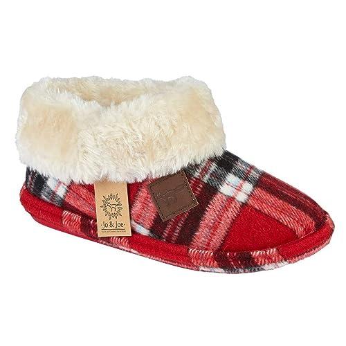 141194c9a340 Jo   Joe Ladies Chiltern Faux Suede Sheepskin Fur Collar Fleece Lined  Bootee Slippers Size 3
