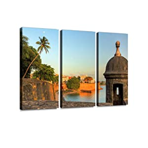 San Juan Cityscape 3 Pieces Print On Canvas Wall Artwork Modern Photography Home Decor Unique Pattern Stretched and Framed 3 Piece