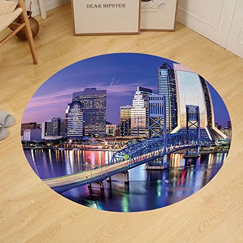 Gzhihine Custom round floor mat United States Urban Cityscape Bridge Office Buildings Jacksonville Florida Bedroom Living Room Dorm Violet Blue Light Pink - Fl Outlet Jacksonville In Stores