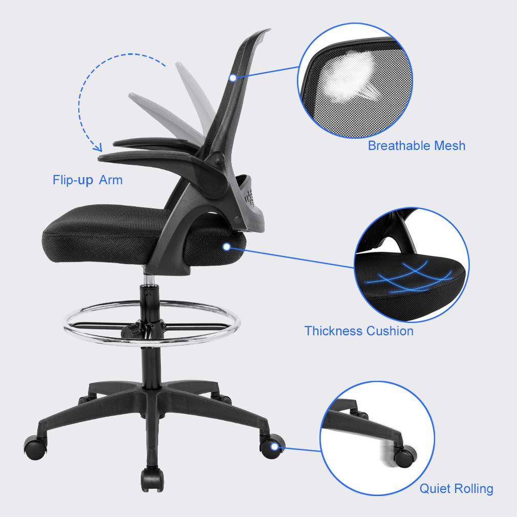 Drafting Chair Tall Office Chair Desk Chair Mesh Computer Chair Adjustable Height with Lumbar Support Flip Up Arms Swivel Rolling Executive Chair for Standing Desk by BestOffice (Image #2)