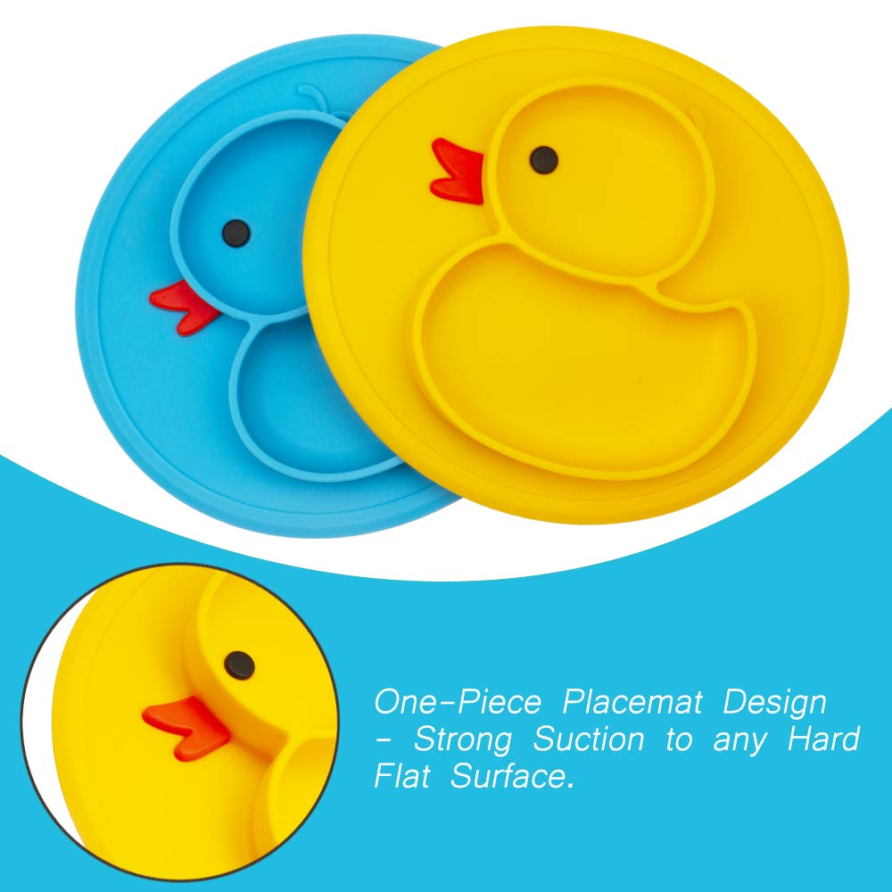 Qshare Toddler Plate Dishwasher /& Microwave Safe Silicone Placemat 28 * 20 * 2.5cm BPA-Free FDA Approved Strong Suction Plates for Toddlers Portable Baby Plates for Toddlers and Kids