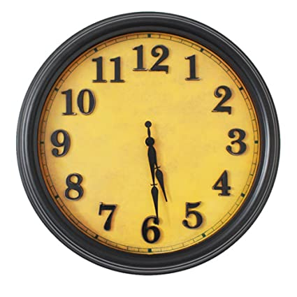 AISSION Wall Clock Reloj digital de cuarzo circular europeo antiguo reloj de pared Retro hacer silencio