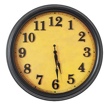 AISSION Wall Clock Reloj digital de cuarzo circular europeo antiguo reloj de pared Retro hacer silencio creativo Dormitorio Salón reloj: Amazon.es: Hogar