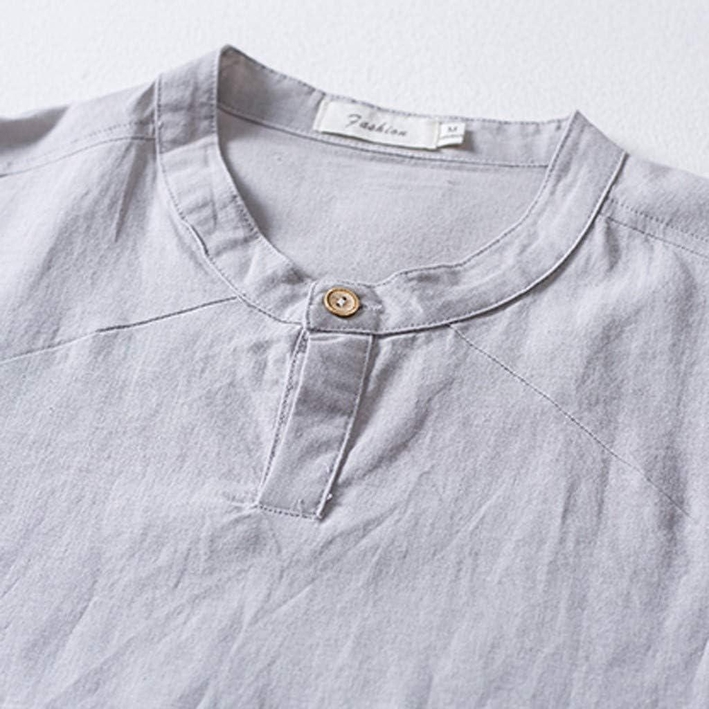 Jumaocio Mens Cotton Linen Shirts Solid Color Casual Short Sleeve