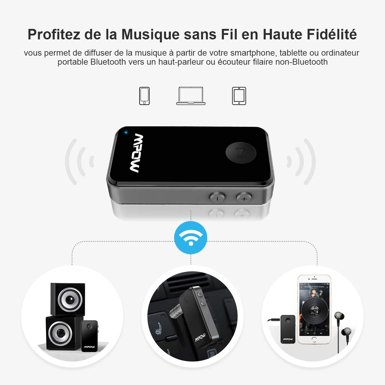 Bluetooth 4.0 +EDR, A2DP, Built-in Microphone Bluetooth Receiver, Car Audio System Mpow Wireless Audio Adapter with 3.5 mm Stereo Output Hands-Free Car Kit  for Home