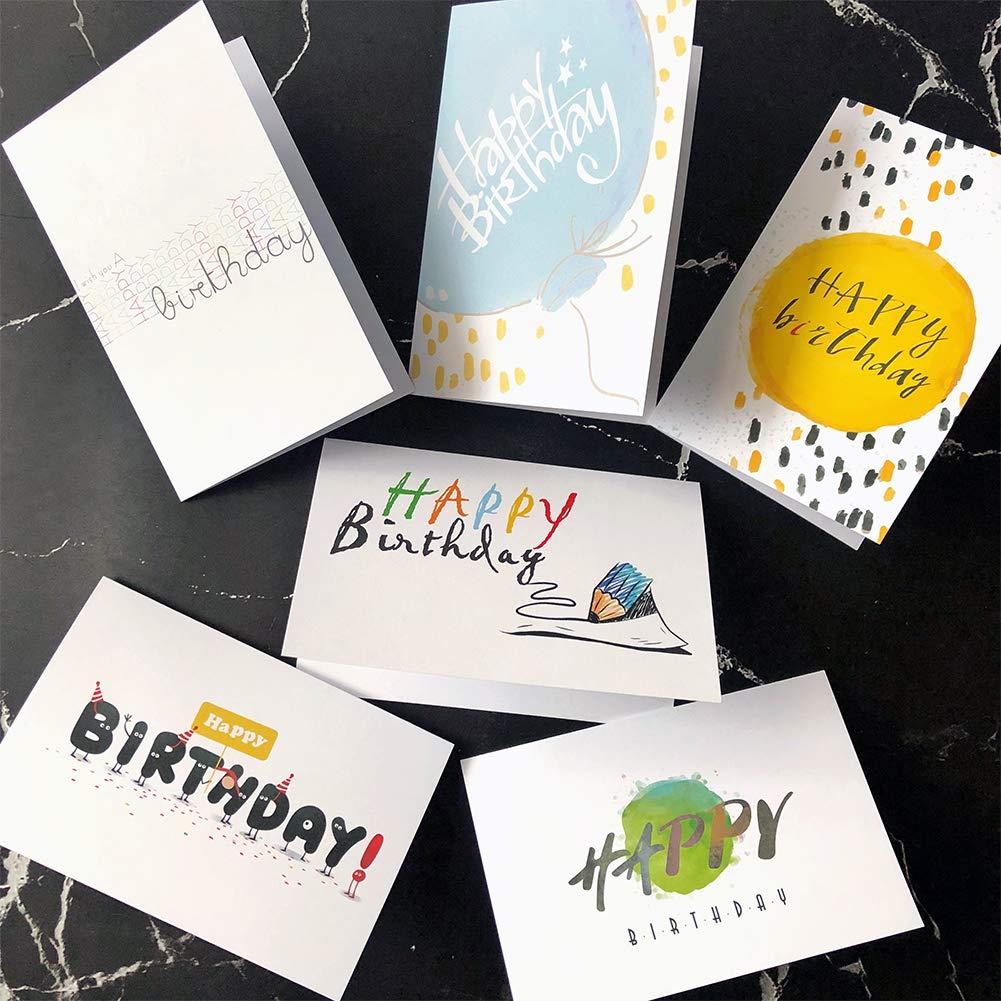 Tarjetas de cumplea/ños hombres y mujeres Paquete de 36 tarjetas de felicitaci/ón de feliz cumplea/ños en 6 estilos de KUMY con sobres Gran elecci/ón para ni/ños interior dentro 4x6 pulgadas