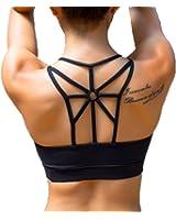 Women's Padded Sports Bra Criss Cross Back High Impact Strappy Yoga Bra