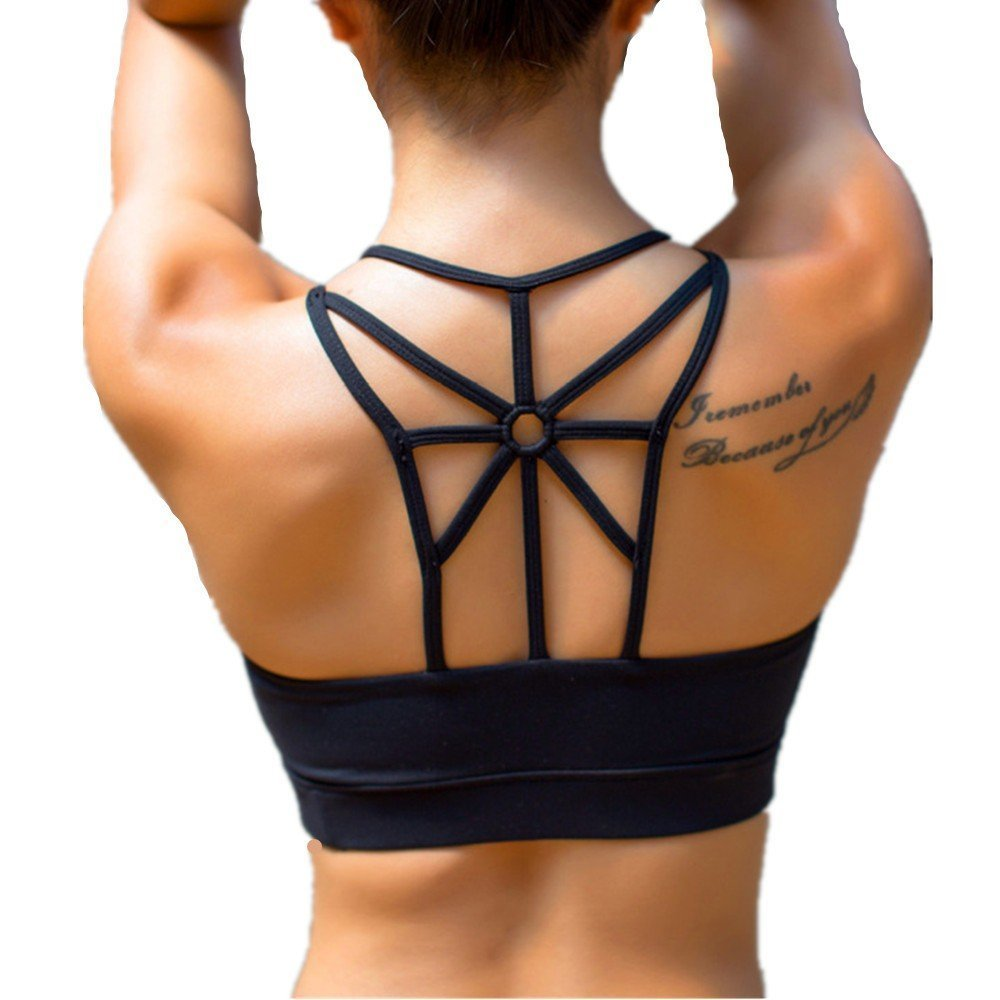 LYZ Women's Padded Sports Bra Criss Cross Back High Impact Strappy Yoga Bra