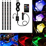 YANF 4Pcs Multicolor Car RGB LED Strip Light, DC12V/72LEDs Car Glow Interior Atmosphere Floor Lights Neon Under Dash Lighting Kit with Sound Music Active Function and Wireless Remote Control
