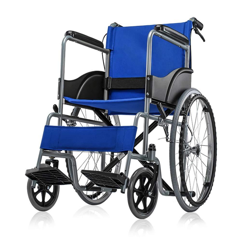 YANGLIYU Wheels Folding Self Propelled Wheelchair,Attendant-Propelled Wheelchair,Lightweight Folding Transit Travel Wheelchair ,Can Bear 100 Kg (Color : Blue)