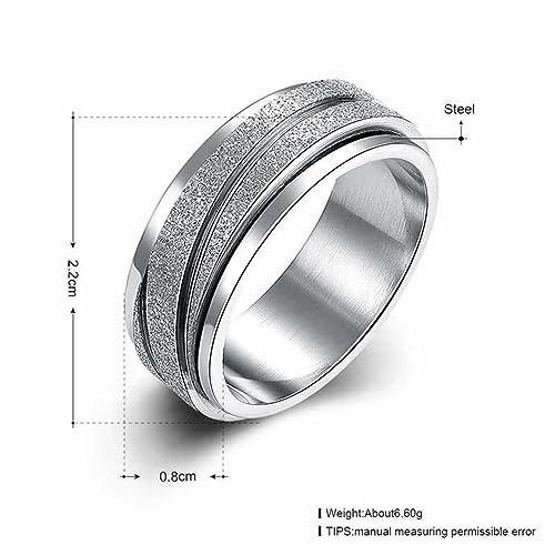 jajafook 8 mm Unisex acero inoxidable dedo Spinner Gear Plata Cepillado mate anillos, anillos de boda: Amazon.es: Joyería