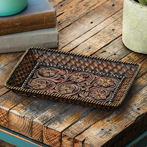 Tooled Leather Rustic Tray - Rustic Dining Tableware
