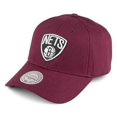 new concept b02ed 57f04 Mitchell   Ness Brooklyn Nets Baseball Cap - Team Logo Low Pro - Burgundy  Adjustable