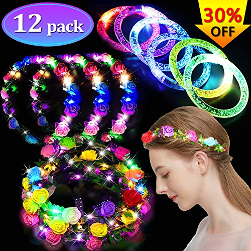 12 Pack Party Favors for Adults Kids, LED Flower Crowns LED Bracelet Glow in the Dark Party Supplies Birthday Party Pack Light Up Toys Flashing Party Headwear Wreath Headband -