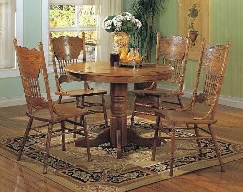 Super 5Pcs Country Solid Oak Nostalgia Round Dining Table 4 Chairs Set Interior Design Ideas Tzicisoteloinfo