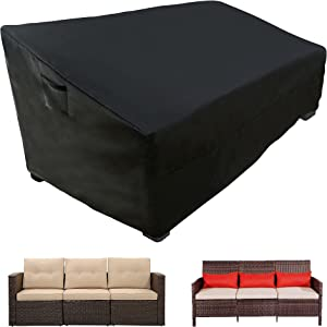 WLEAFJ Patio Sofa Cover Waterpoof, 3-Seater Outdoor Sofa Cover, Heavy Duty Deep Lounge Loveseat Cover, Large Lawn Patio Furniture Covers with Air Vent, 82.6'' L x 39'' W x 28'' H