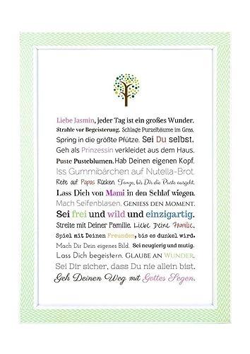 Taufe Geschenk Mädchen Personalisiertes Bild A4 Kunstdruck