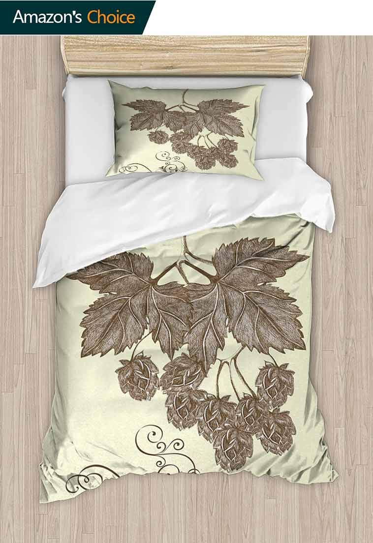 Rustic Printed Quilt Cover and Pillowcase Set, Hop Branch with Leaves and Ornamental Lines Agriculture Harvest Artistic Design Art, Reversible Coverlet, Bedspread, Gifts for Girls Women Black White