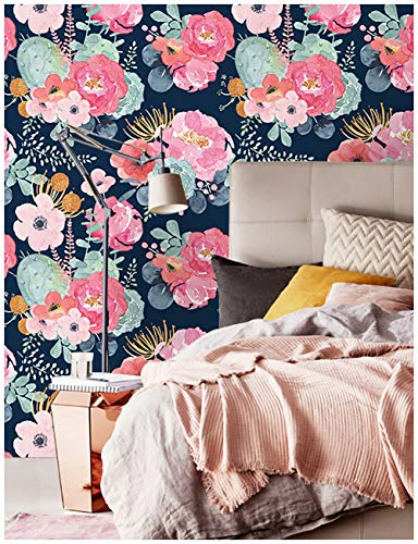 "HaokHome 93005 Peel and Stick Thick Quality Modern Floral Wallpaper 17.7""x 9.8ft Pink/Green/Navy Blue/Orange Vinyl Self Adhesive Prepasted Contact Paper for Walls Bathroom Decorations"