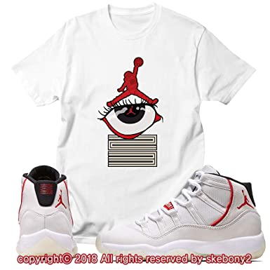 8b5cb2fbc89 Custom T Shirt Matching Style of Air Jordan 11 Platinum Tint JD 11-4-2-6 at  Amazon Men's Clothing store: